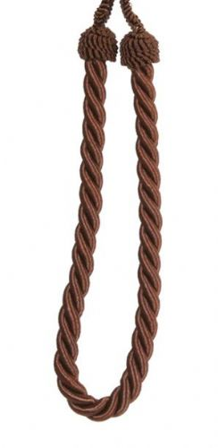 BROWN PLAIN COLOUR PAIR OF ROPE CORDED TIEBACKS